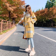 Autumn Winter Thick Plaid Coat Women Turn-Down Collar Lattice Woolen Coats Loose Long Houndstooth Outwear