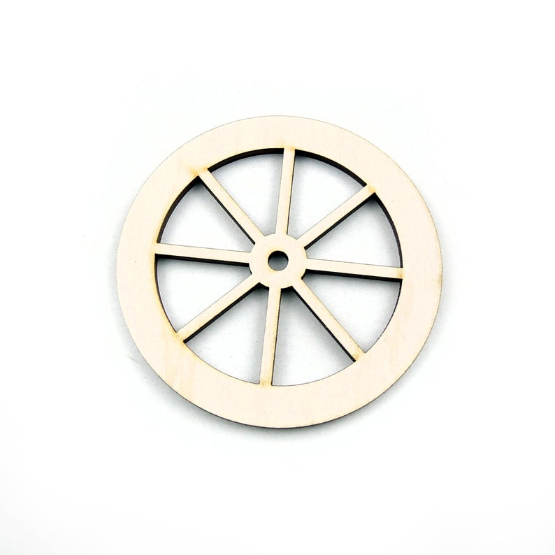 Wooden Cart Wheel Shape For Crafts And Decoration - Laser Cut - Wagon Wheel - Cart Wheels - Cart - Sicilian Cart