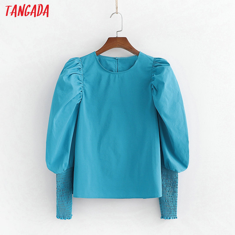 Tangada Women Blue Shirts Puff Long Sleeve Solid O-neck 2020 New Arrival Ladies Casual Blouses Top 1D07