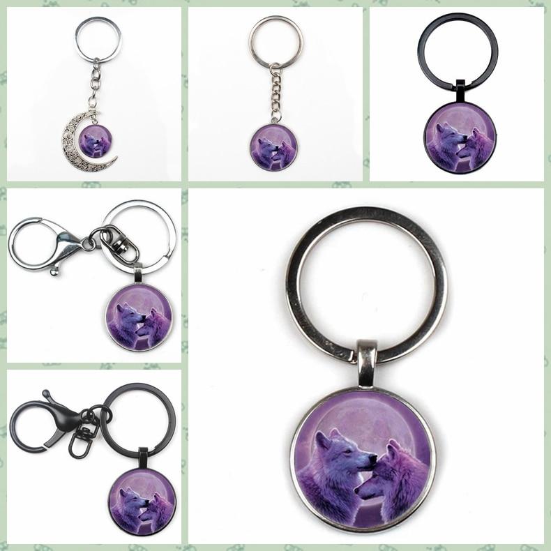 New Cute Purple Moon Wolf Totem Crystal Pendant Man Woman Keychain Fashion Quality Car Charm Bag Glass Key Chain Gift Ring