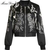 MoaaYina Fashion Designer jacket Coat Spring Autumn Women's Long sleeve Embroidery Beading Black Short Jacket jacket