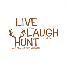 Live Laugh Hunt Deer  Wall Decals Quotes /PVC Removable Art Home Stickers/Room Decor