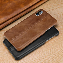 Vintage stitch stitching matte genuine leather back cover case for iphone 6s 7 8 Plus Xs Max CKHB CX1 DIY name back cover case