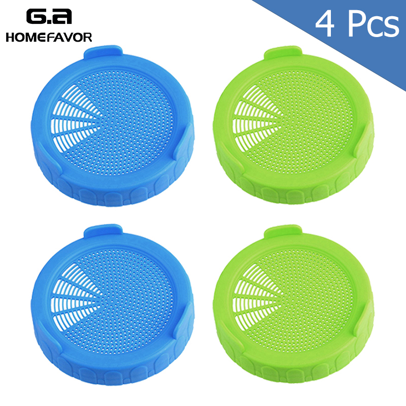 4 or 2 Sprouting Lid Food Grade Mesh Sprout Cover Kit Seed Growing Germination Vegetable Silicone Sealing Ring Lid For Mason Jar