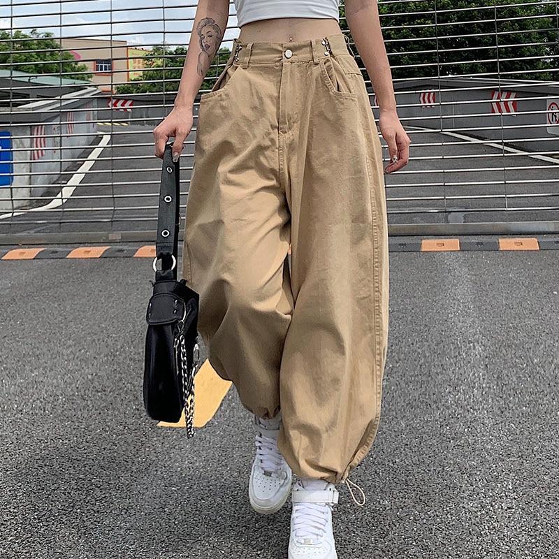Baggy Casual Cargo Pants Capris Women Button High Waist Loose Trousers Ladies Pockets Zipper Fly Sweatpants Autumn pantalones