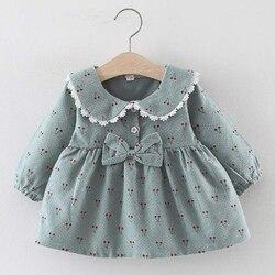 Одежда для маленьких девочек, 2021, Осеннее милое платье для новорожденных, Детские однотонные платья с принтом вишни и бантом, платье принцес...