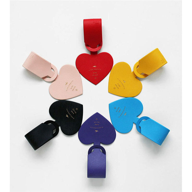 5 Colors Lovely Heart Shaped Luggage Tag Unisex Charming PU Leather Suitcase ID Address Holder Portable Travel Vacation Tag