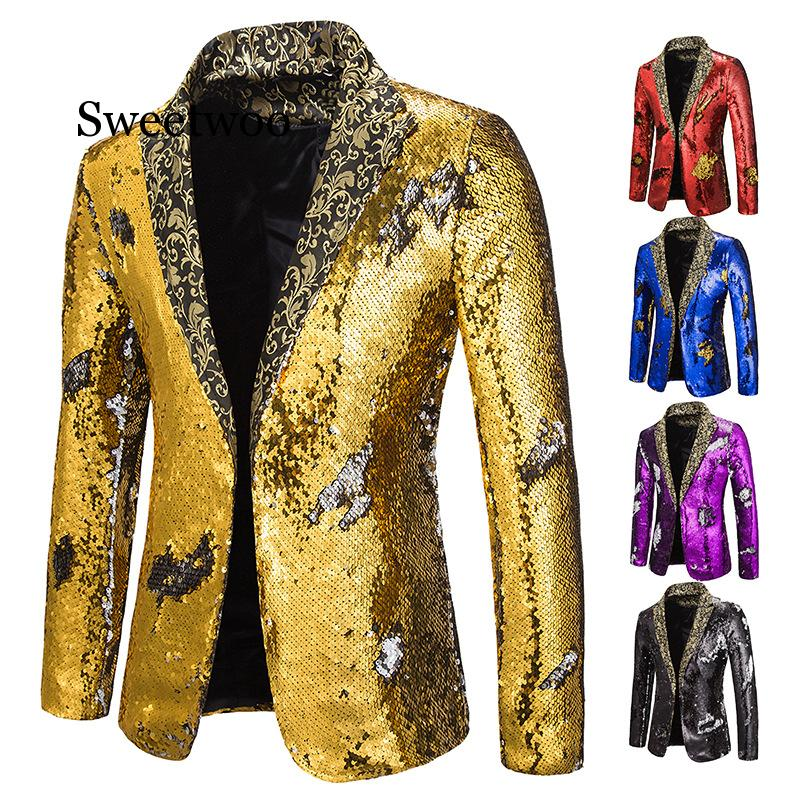 2020 New Red Black Sequin Blazers Jacket Men Evening Party  Dress Suit Plus Size 2xl Suit Jacket Night Club Slim Fit Blazer Coat