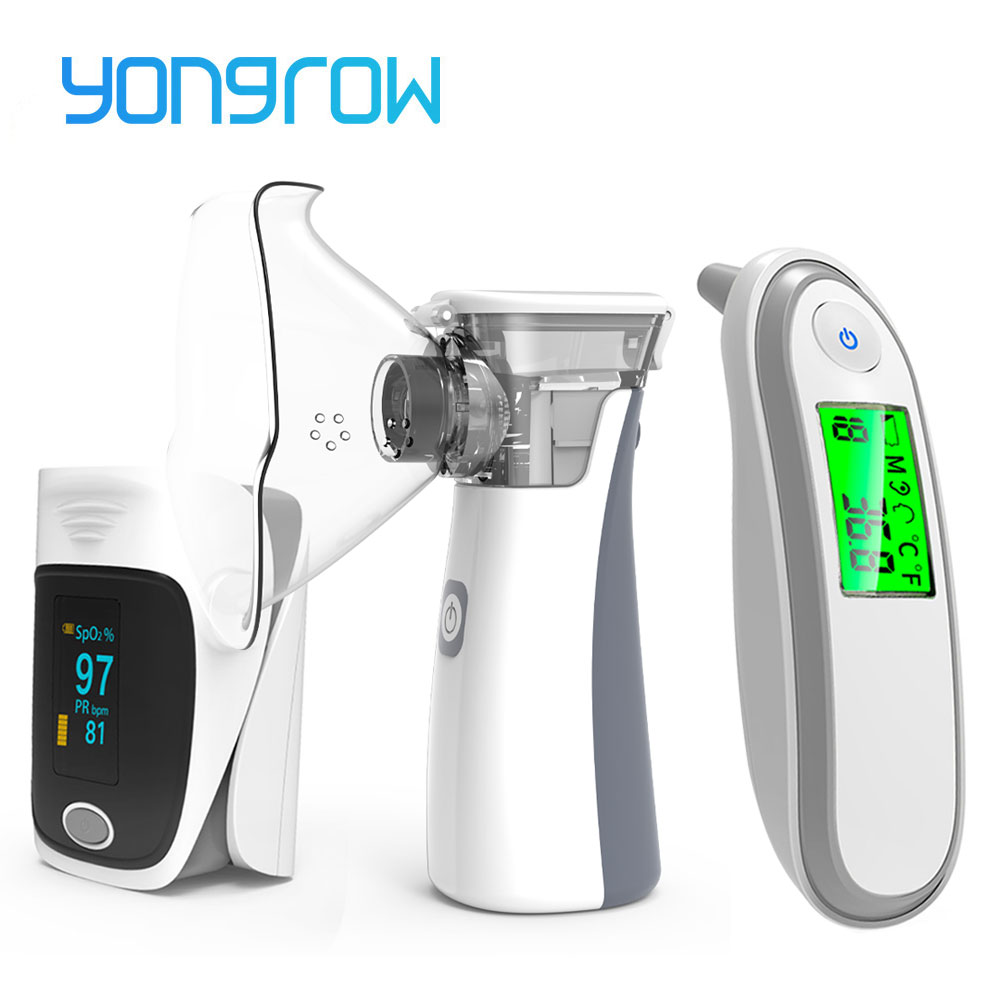 Yongrow OLED Fingertip Pulse Oximeter & Handheld Asthma Inhaler Nebulizer & Baby Infrared Thermometer Family Health Care Gift