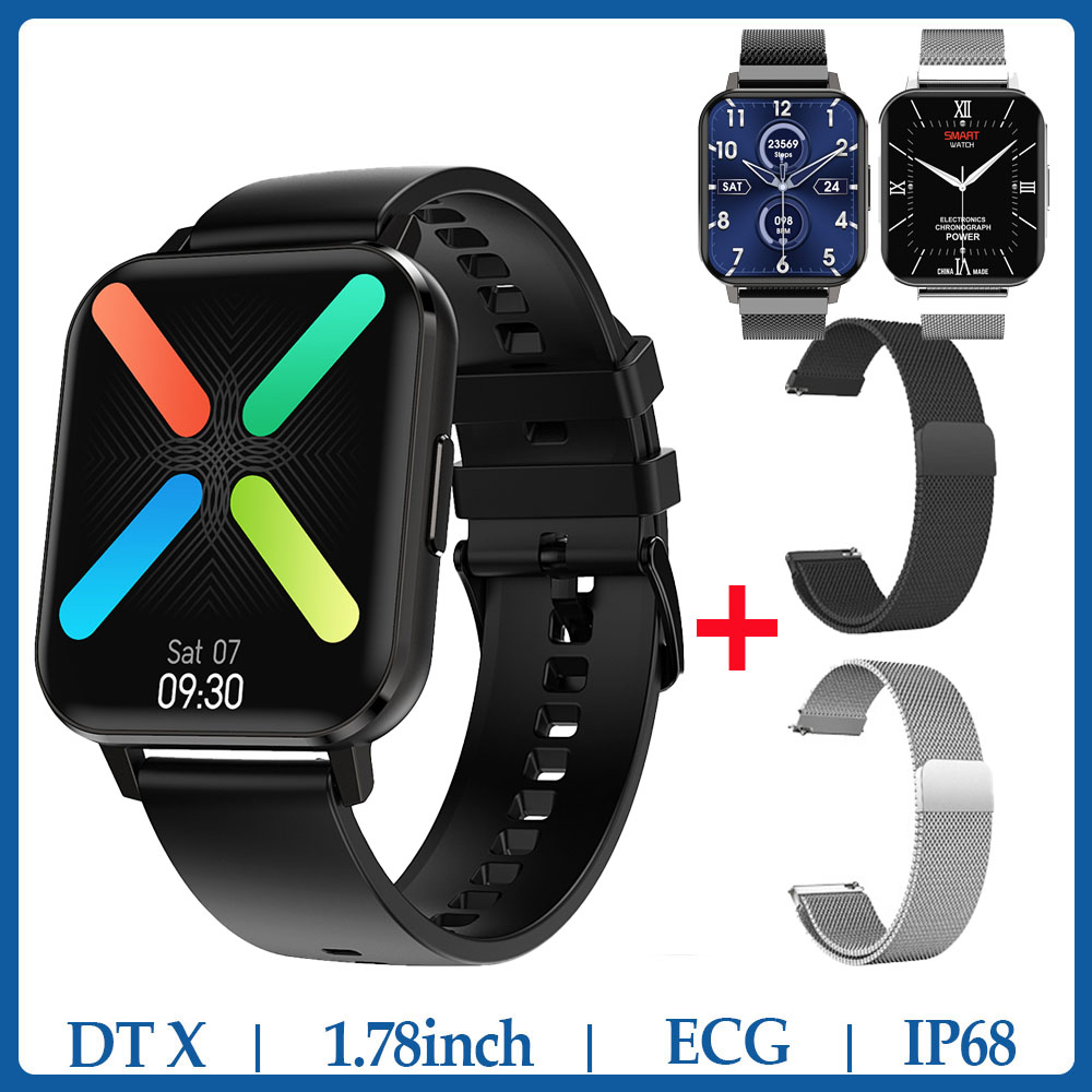 <font><b>NO</b></font>.<font><b>1</b></font> DTX <font><b>SmartWatch</b></font> <font><b>DT</b></font> X <font><b>1</b></font>.78inch IP68 Waterproof ECG Heart Rate Sleep Monitor Blood Pressure VS P8 Pro Smart Watch Men image