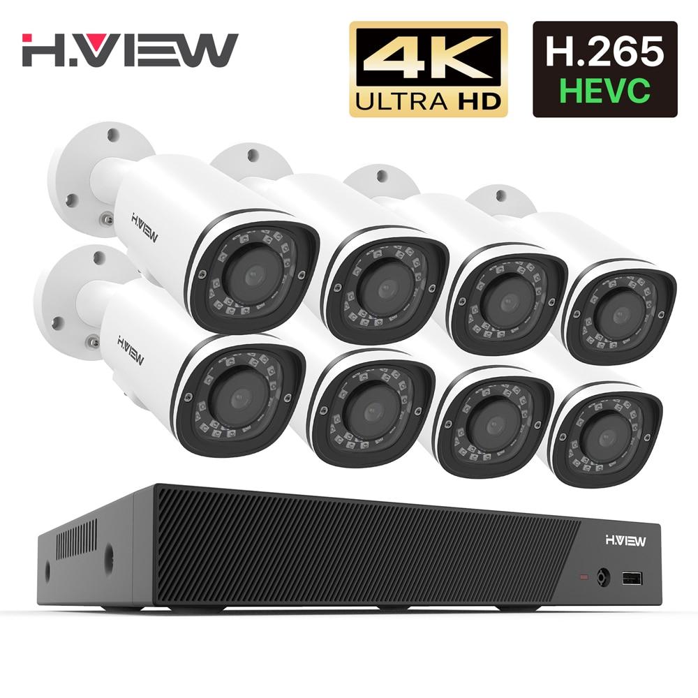 H.View – kit de vidéosurveillance Nvr Poe 8ch 4K H.265, système de sécurité cctv 8MP, enregistrement Audio étanche pour l'extérieur, ensemble de caméras ip poe 1