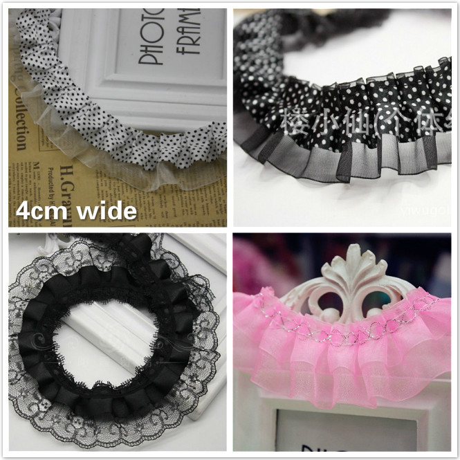 Variety Exquisite Chiffon Mesh Pleated Tulle Lace Ribbon Skirt Curtain Trim Toy Doll Pet Clothes Sewing Creation Fabric Encajes