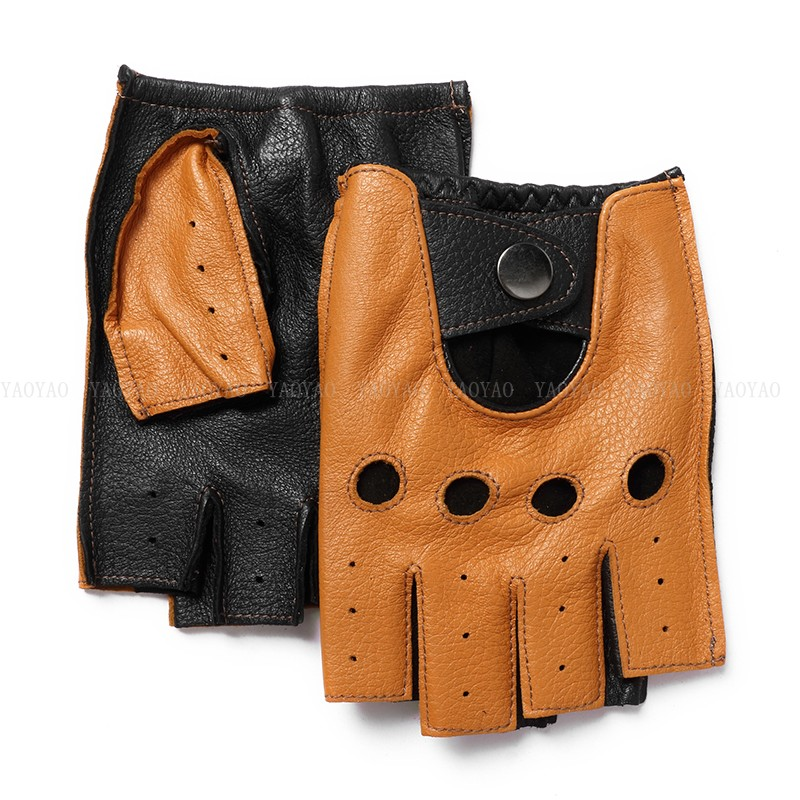 2020 NEW ARRIVAL Men Genuine Leather Semi-Finger Thin Glove Male Color Matching Locomotive Car Driving Mitten Brown Luvas