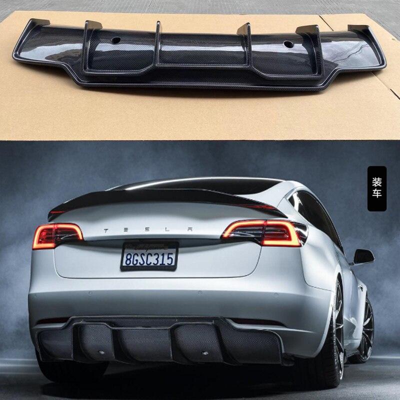 تصفيف السيارة الخامس نمط ألياف الكربون شفة موزع خلفي حقيقي ألياف الكربون الخلفي الناشر طقم الجسم ل تسلا نموذج 3 2017-UP