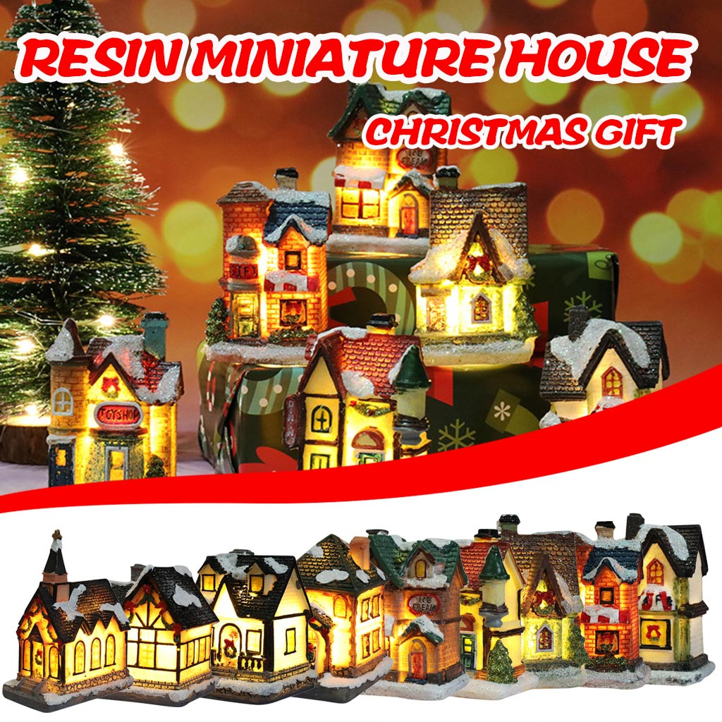 Resin Miniature House Furniture Led House Decorate Creative Christmas Gifts Small Resinous Houses For Christmas Decorations