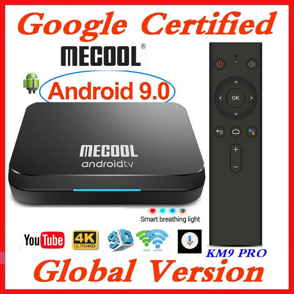 Google Certified <font><b>MECOOL</b></font> Androidtv Smart <font><b>TV</b></font> <font><b>Box</b></font> <font><b>Android</b></font> 9.0 <font><b>KM9</b></font> PRO ATV 2G/16G Amlogic <font><b>S905X2</b></font> 4K 2.4G/5G Wifi KM3 <font><b>TV</b></font> <font><b>BOX</b></font> 4G/128G image