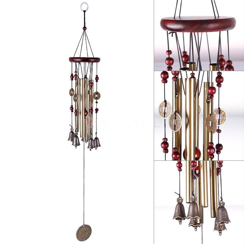 Outdoor Metal 4 Copper Tubes Wind Chimes Chapel Church Bells Window Bells Wall Hanging Decorations Home Decor New Year Decor(China)
