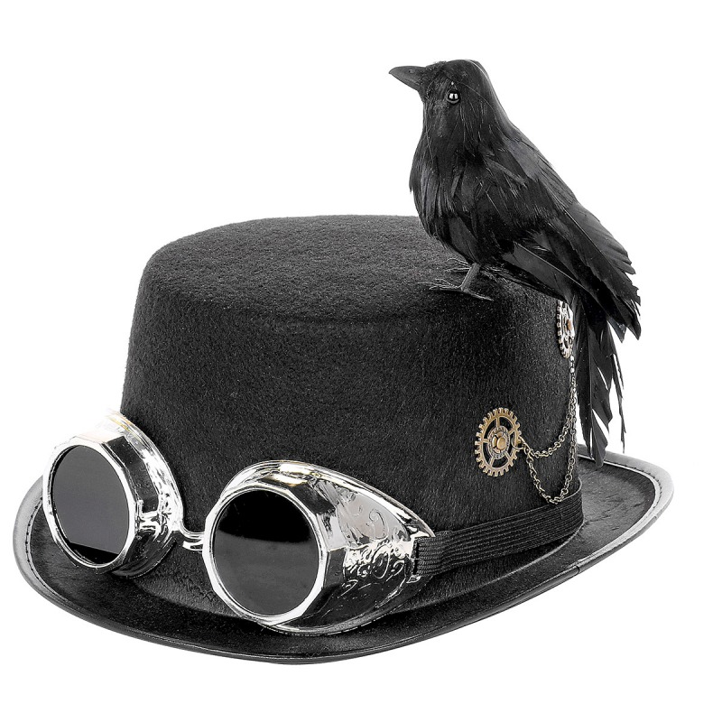 2019 DIY Assembly Plague Doctor Retro Steampunk Hat With Goggles/Gears/Black Crow Lifelike Costume Party Hat Props Accessories*
