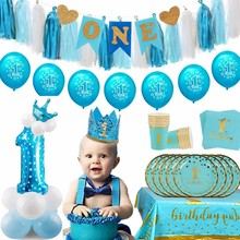 1st Birthday Party Decoration Boy First Birthday Party Decor Balloons 1 Year One Year Old Birthday Baby Shower Party Supplies