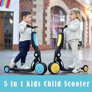 Scooter infantil 5 en 1, bicicleta de equilibrio para niños de 18 meses a 6 años, triciclo multifuncional para bebé