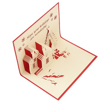 Greeting Christmas Cards 3D Pop Up Origami Stereoscopic Tree Gift Creative Card Blessing Perfect