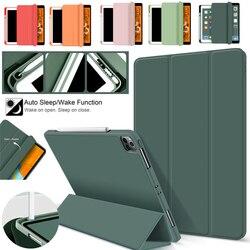 Avec porte-crayon étui en Silicone pour IPad Pro 12 9 11 Air 4 10.9 Mini 5 étui multi-plis housse de protection tablette support Anti-chute