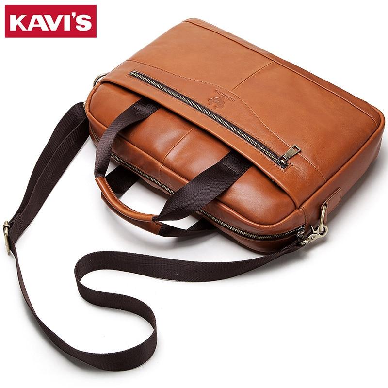 KAVIS Genuine Leather Handbag Briefcase Men Travel For Laptop Bag Crossbody Sling Messenger Handle Tote Shoulder Bolsas  Quality