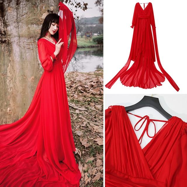 Luxury Red & White Chiffon Long Dress For Elegant Lady Gorgeous V-Neck Lanter Sleeve Floor Length Bohimian Beach Dresses Vestido 6