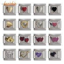 Italian Charm Bracelet Jewelry-Making Stainless-Steel Pink Heart Hapiship DJ053 9mm-Width