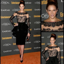 Party-Dresses Celebrity Long-Sleeves Zuhair Murad Lace Black Satin Short Peplum Knee-Length