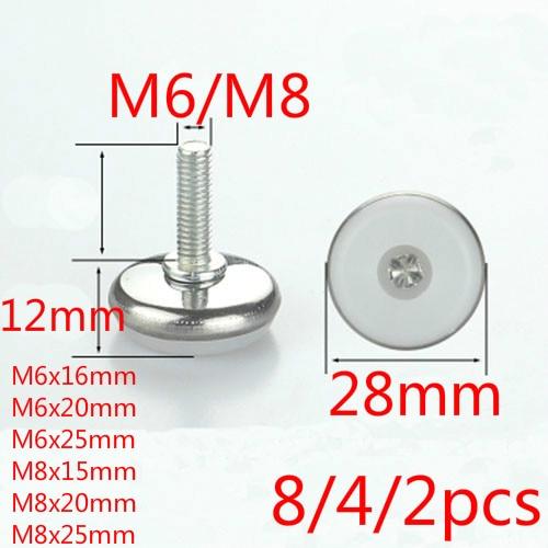 8/4/2pcs Furniture Legs Feet Iron White Transparent Table Cabinet Chair Desk M6/M8 Thread 15/16/20/25mm Height