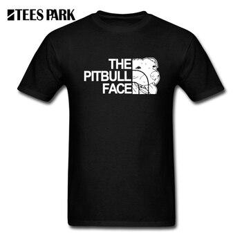 Tops 2019 la cara de Pitbull divertido diseño de lujo Pit Bull hombre Camiseta de manga corta Camisetas nueva llegada de los hombres divertido T camisas