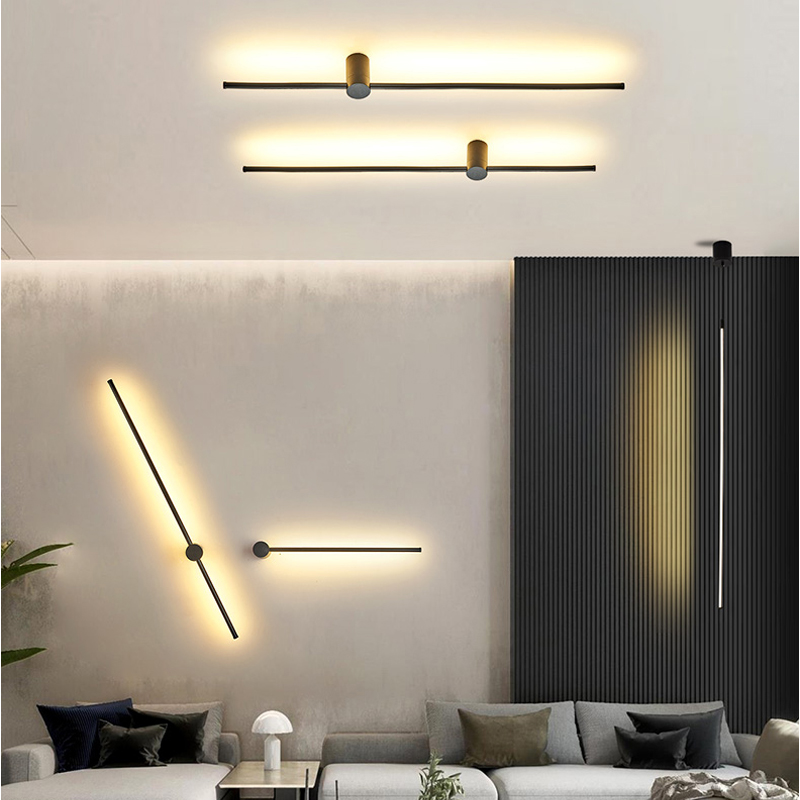 Modern LED Wall Lamp Long Hanging Lights Simple Nordic Living Room Sofa Background Wall Light Bedroom Bedside Floor Lamp
