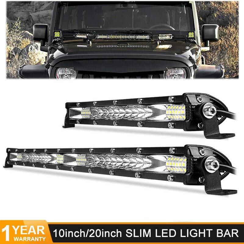 Super Slim 10 20 inch Led Work Light 12V 24V Led Bar Combo Spot Flood for Jeep ATV Boat Trucks Tractor Driving Light Car Styling
