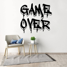 GAME OVER Wall Decal for Bedroom Home Decoration Boys Girls Room Wall Stickers Gamer Video Game Vinyl Decals Mural PS4 недорого