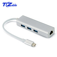 15CM USB 3.0 HUB Type c to Ethernet Network Adapter 1000 Mbps RJ45 USB C with 3 usb 3.0 Ports USB Splitter for MacBook Pro