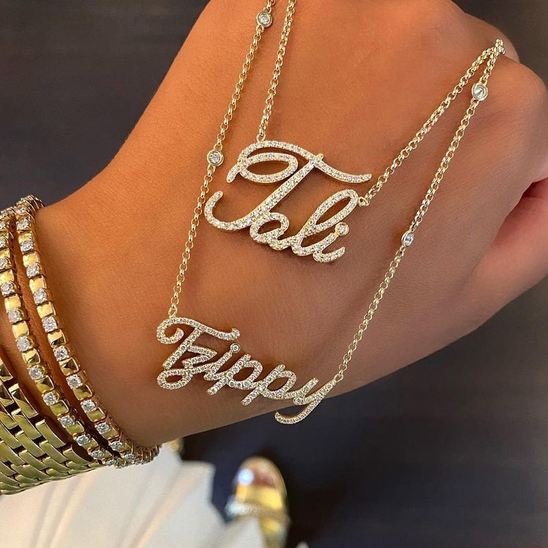 Custom Name Necklace Iced Out Zirconia Necklace for Women Personalized Gold Chain Necklace Zircon Custom Jewerly Birthday Gifts