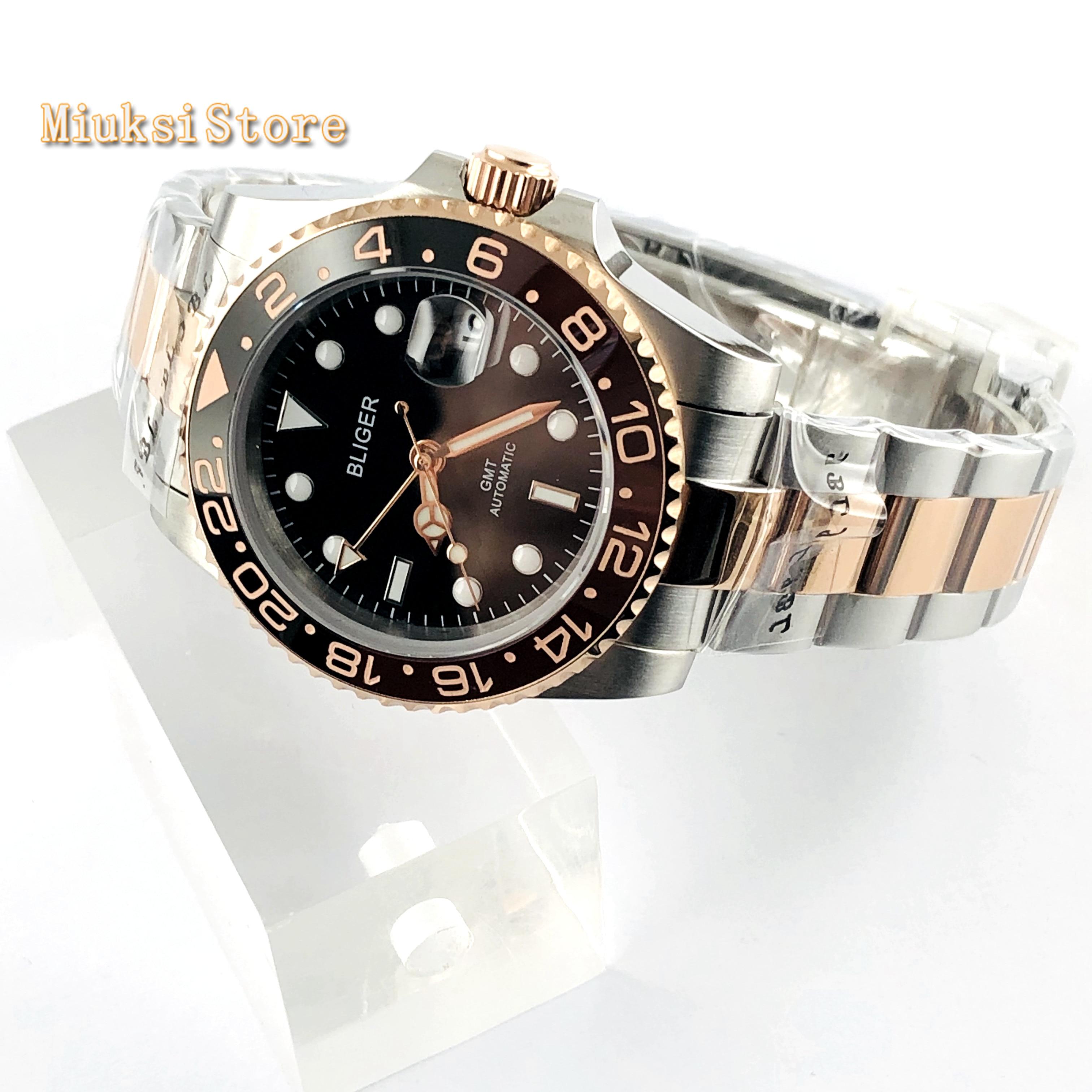 Bliger 40mm top mens negócios assista GMT black dial data vidro de safira painel de cerâmica janela luminosa relógio mecânico automático - 4