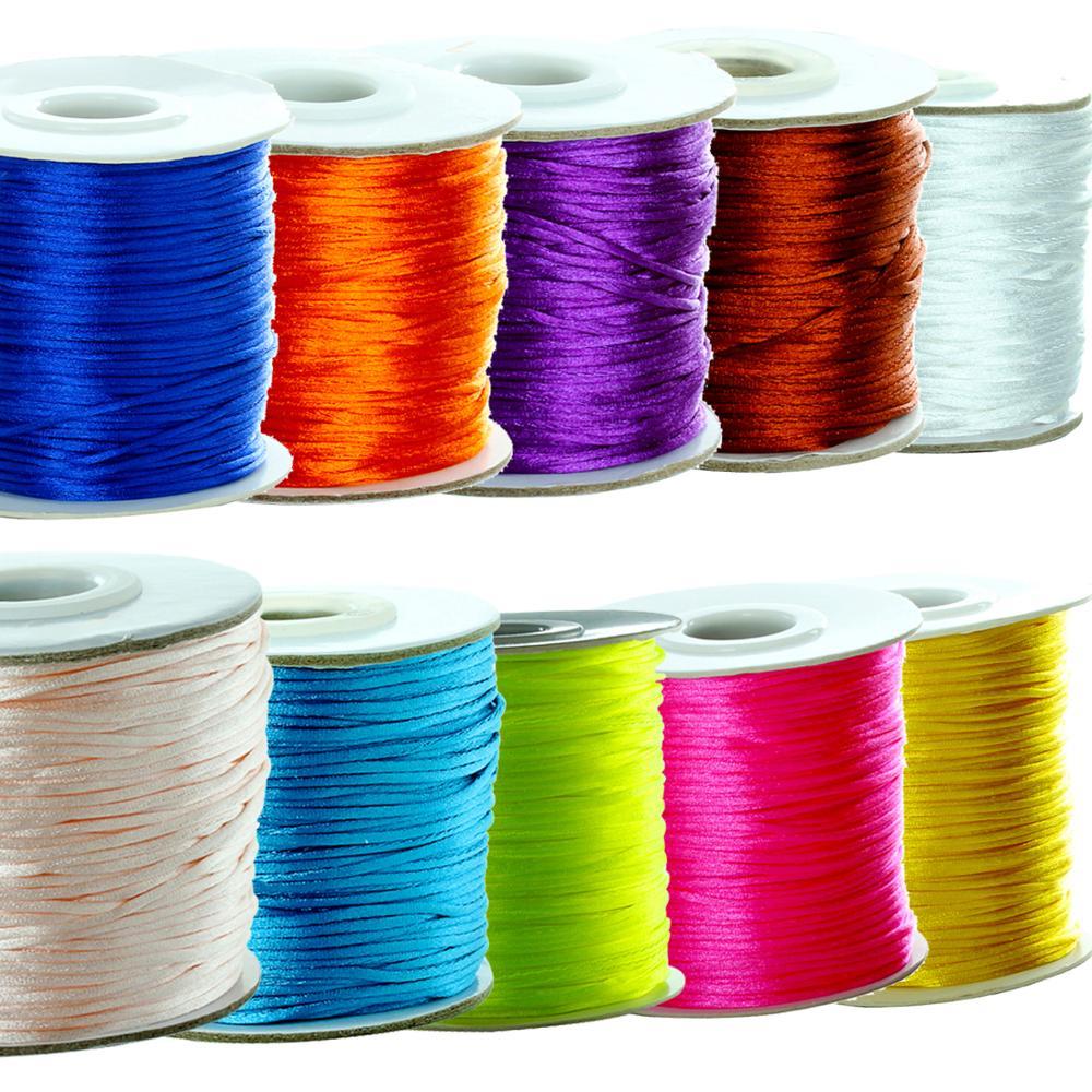 80yards/lot 1.5mm Nylon Cord Satin Rattail Silk Macrame Beading Cords Threading String Kumihimo For Jewelry Making Materials