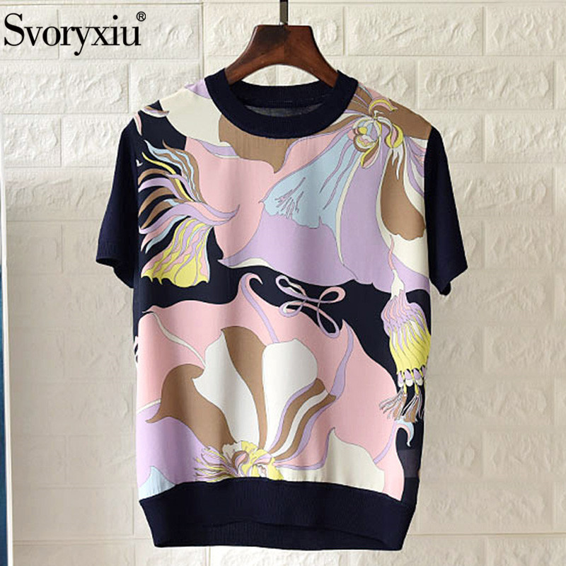 Svoryxiu 2020 Designer Silk Flower Print Patchwork Knitting Tees Tops Women's Fashion Short Sleeve Summer T Shirts Female