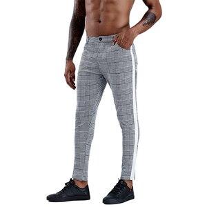 Image 5 - Pantalon slim à carreaux pour hommes, Streetwear à la mode, survêtement pour hommes, jogging serré, collection 2020