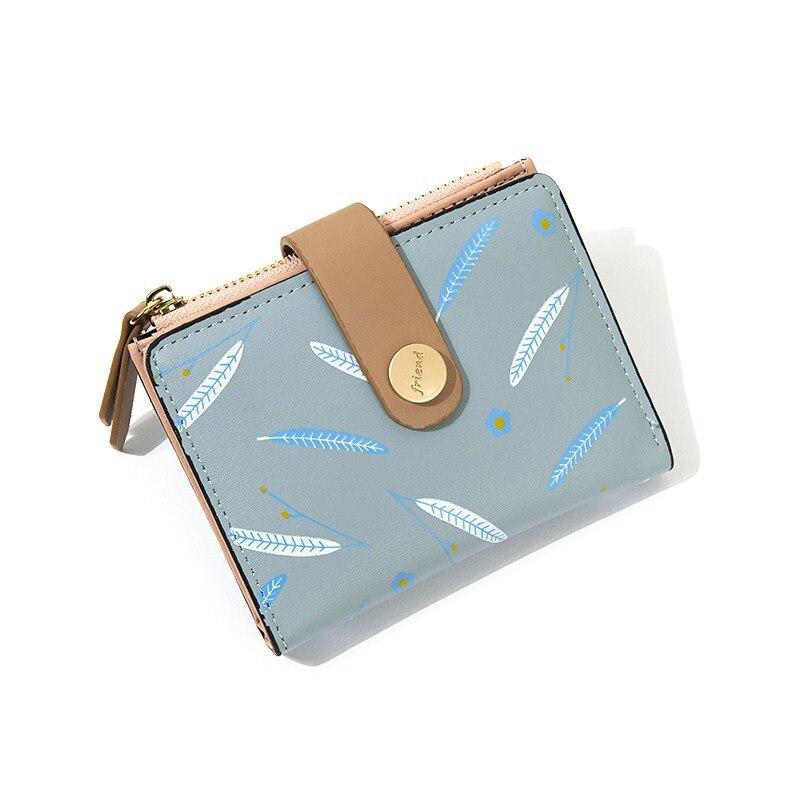 2020 New Women's wallets made of leather Cute feather print Women purses Short Small Female wallet Mini Zipper portafoglio donna