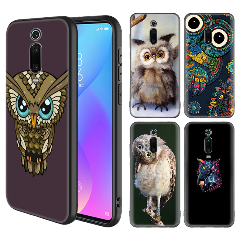 Leuke Uil Animal Case voor Xiaomi Redmi Note 7 8 8T K20 Pro 8A 7A 6 6A S2 Gaan 5 4X Telefoon Coque Zwart Siliconen Covers Casos