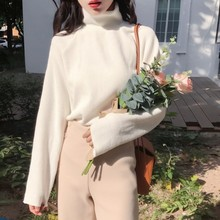 Autumn Vintage Chic Sweater Women Simple Solid Color Turtleneck Pullover Sweaters Black White Fashion Ladies Clothes
