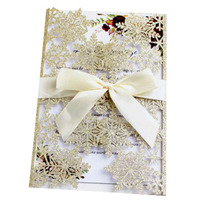 100pcs/set Christmas Invitation Card Snowflake Wedding Festival Greeting Card Laser Hollow Out Blessing Postcard Party Supply