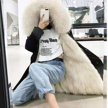 Fur coat parkas winter jacket women parka down cotton thick warm long hair collar fur 2XL