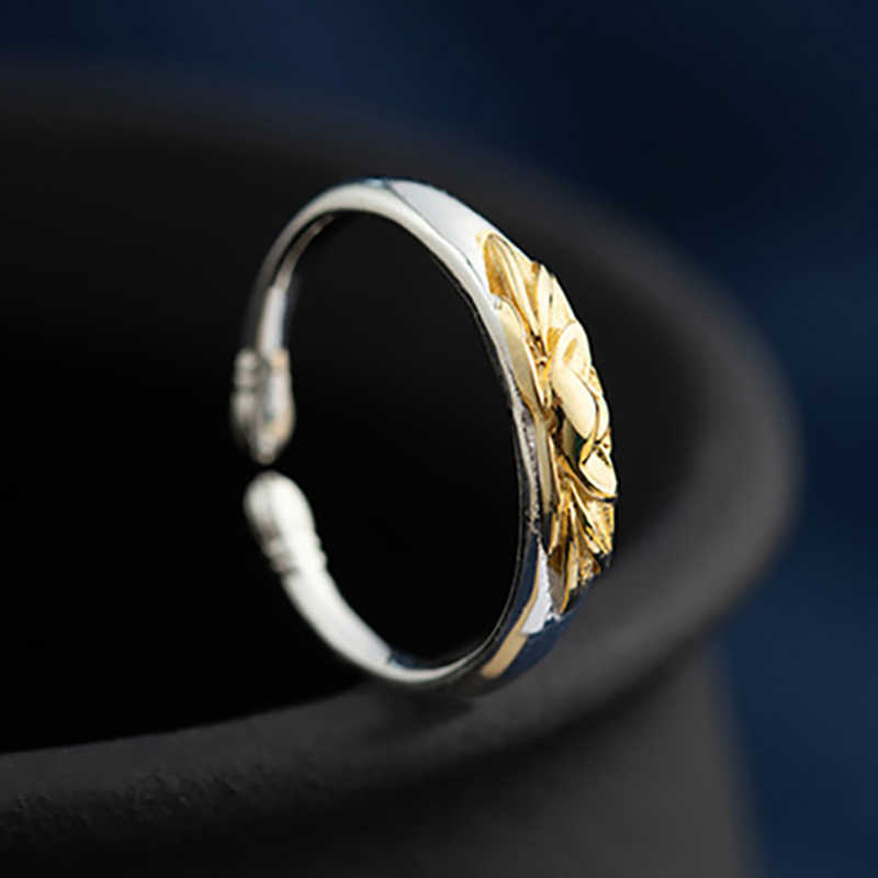 V. YA 925 Sterling Silver VINTAGE Lotus ดอกไม้เปิดแหวนทองสีดอกไม้แหวนผู้หญิงแฟชั่นเงินเครื่องประดับ
