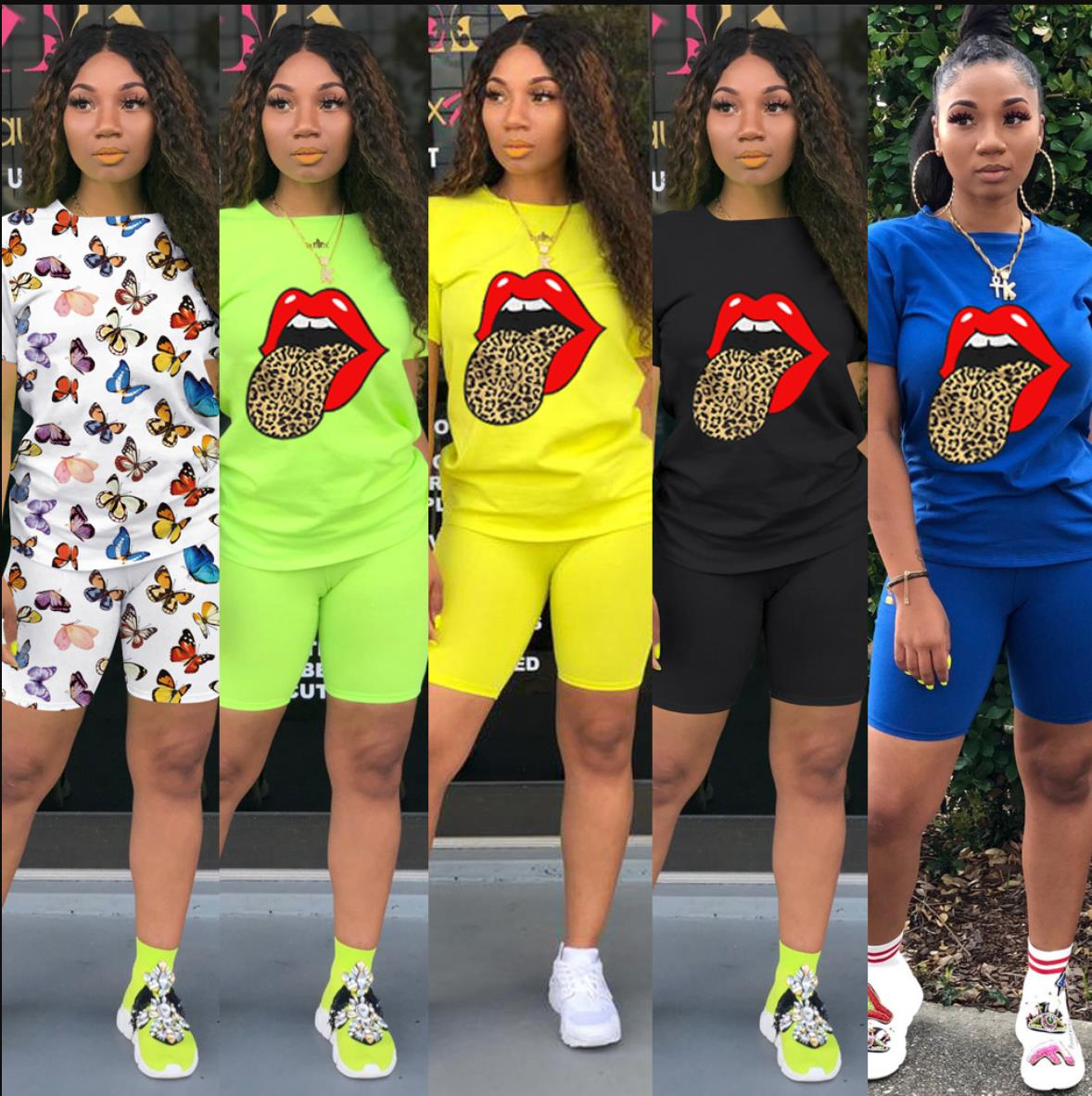 New Summer Letter Print Casual Women's Two Piece Outfits Set Tracksuit Shirt Sexy Top Biker Shorts Jogger 2 Piece Active 2020