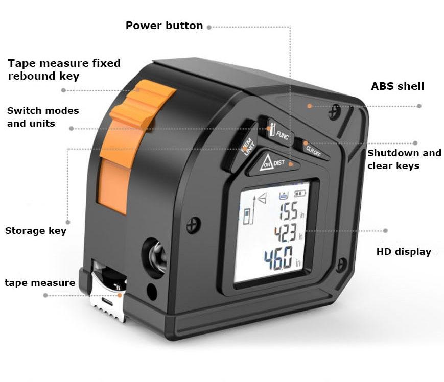 Laser 50M Electronic Retractable Tape Measure Tools King Measuring Meter Laser Digital Roulette Metro Tape