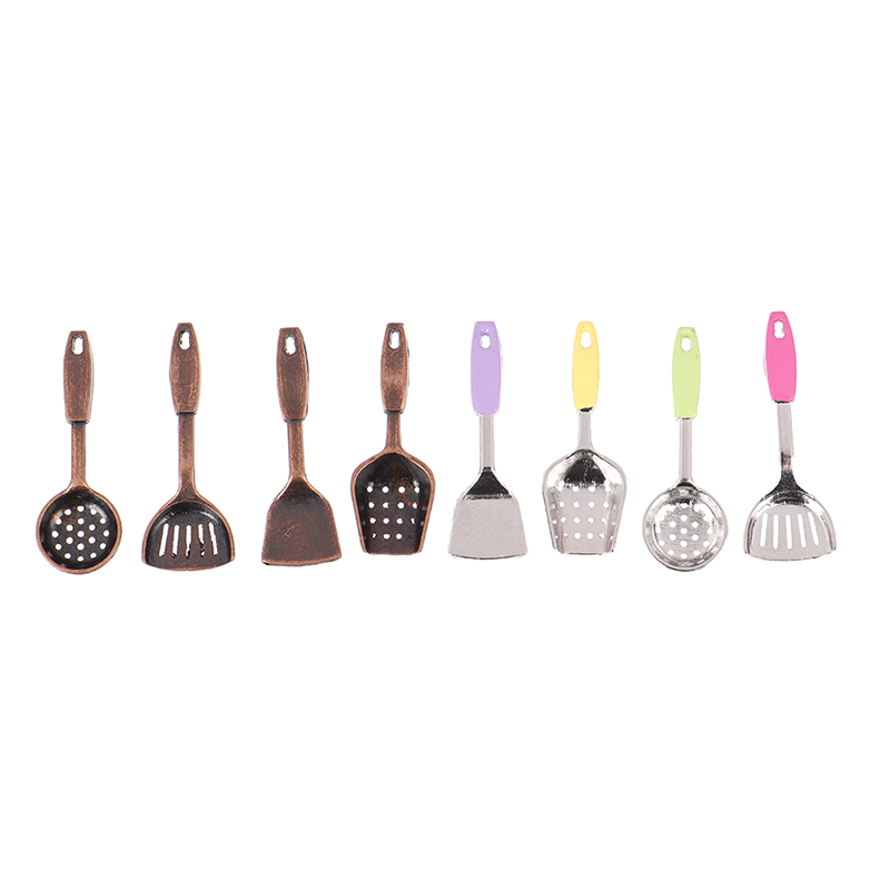 5pcs Dollhouse Miniature Accessories Mini Shovel Soup Spoon Storage Holder Kitchen Cooking Tool Utensils For Decoration Toy